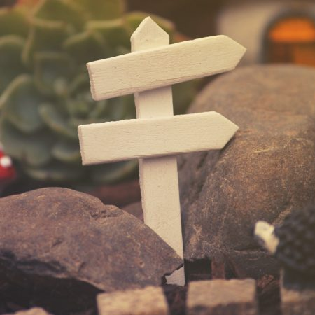 miniature wooden signpost
