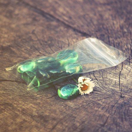 glass stones green