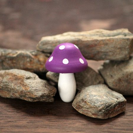 purple toadstools fairy garden