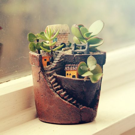 miniature garden broken pot
