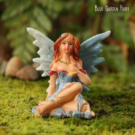 blue miniature garden fairy