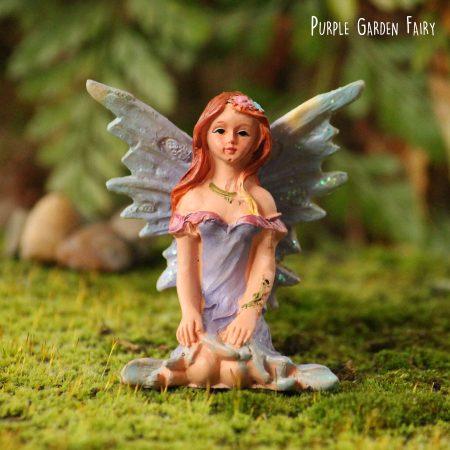 purple miniature garden fairy