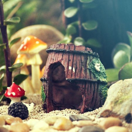 broken barrel fairy garden