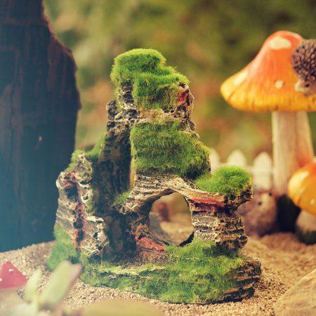 fairy garden mossy rock landscape