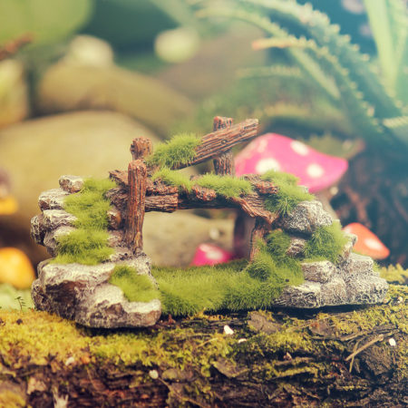 old bridge fairy garden